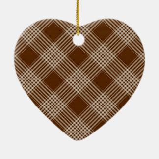 Brown Check Plaid Christmas Ornament