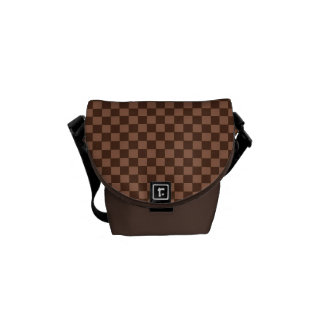 Brown Checker Board Pattern Messenger Bags