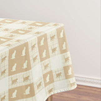 Brown Checkerboard Cat Pattern Tablecloth