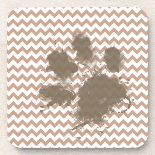 Brown Chevron; Dog Owner Gift Drink Coasters
