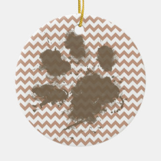 Brown Chevron; Dog Owner Gift Christmas Tree Ornament