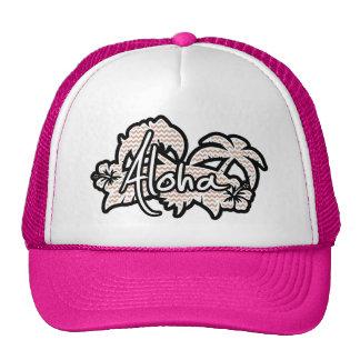 Brown Chevron Pattern; Aloha Trucker Hat