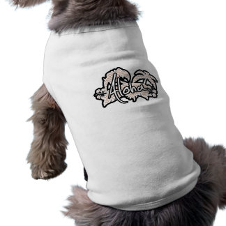 Brown Chevron Pattern; Aloha Sleeveless Dog Shirt