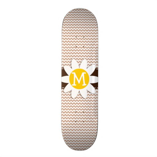 Brown Chevron Pattern; Daisy Custom Skate Board