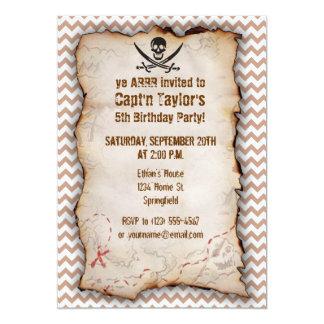 Brown Chevron Pattern Jolly Roger 13 Cm X 18 Cm Invitation Card