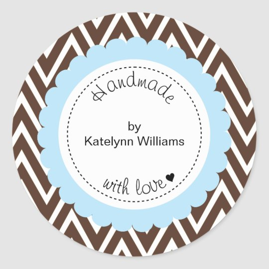 Brown Chevron Personalised Custom Favour Stickers