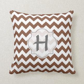 Brown Chevron Zig-Zag Pattern Cushion