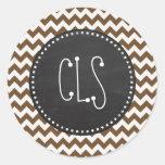 Brown Chevron; zig zag; Retro Chalkboard Round Stickers