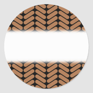 Brown Chevrons, similar to pattern of knitting. Classic Round Sticker