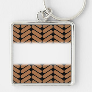 Brown Chevrons, similar to pattern of knitting. Key Ring