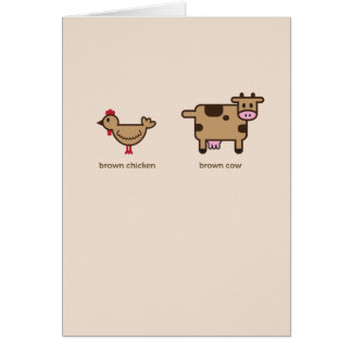 Brown chicken brown cow anniversary greeting card