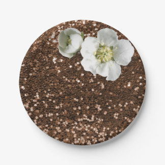 Brown Chocolate Floral White Jasmine Glitter Paper Plate