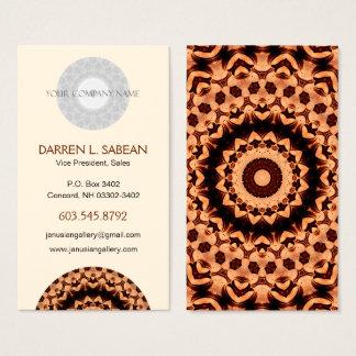 "Brown ""Chocolate Hearts"" Kaleidoscopic Mandala Business Card"