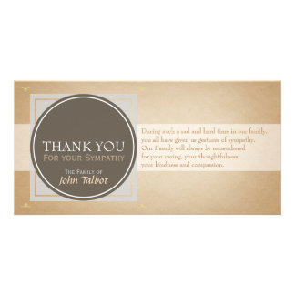 Brown Circle G Square Tags Sympathy Thank you P Personalised Photo Card
