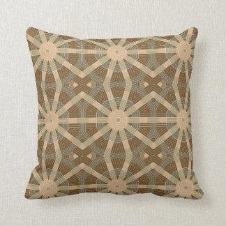 Brown Circle Kaleidoscope Pattern Throw Pillows