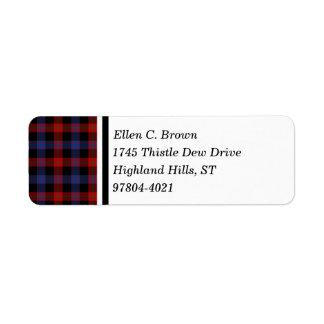 Brown Clan Red and Blue Scottish Tartan Return Address Label