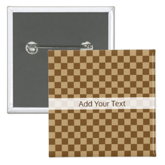 Brown Classic Checkerboard by Shirley Taylor 15 Cm Square Badge