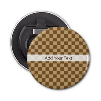 Brown Classic Checkerboard by Shirley Taylor Bottle Opener