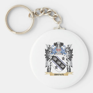 Brown Coat of Arms - Family Crest Basic Round Button Key Ring
