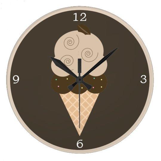 Brown Coffee Bean Ice Cream Cone Large Clock