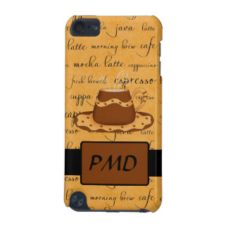 Brown Coffee Cup Art Gold Script Words Monogram iPod Touch (5th Generation) Case