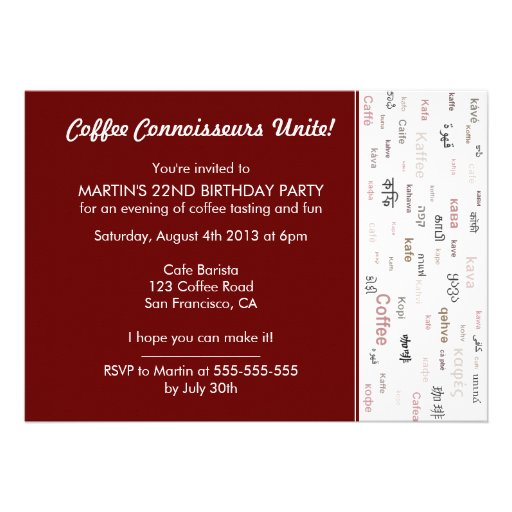 Brown Coffee fans birthday party invitations