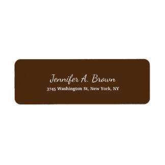 Brown Color Creative Handwriting Plain Feminine Return Address Label