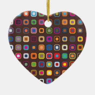 Brown Colored Square Pattern Ceramic Heart Decoration