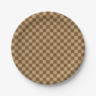 Brown Combination Classic Checkerboard 7 Inch Paper Plate
