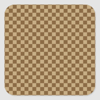 Brown Combination Classic Checkerboard Square Sticker