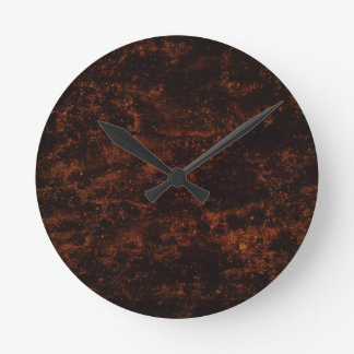 Brown Concrete Fire Round Clock