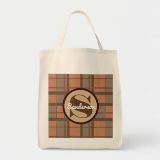 Brown Contemporary Plaid w/Monogram Grocery Tote Bag