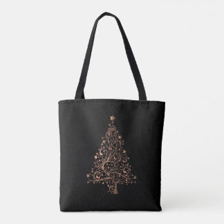 Brown Copper Christmas Tree Elegant Holiday Season Tote Bag