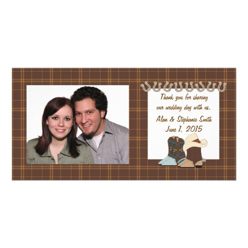 Brown Country Western Thank You Photo Cards