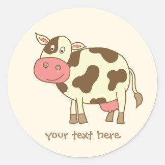 Brown Cow Classic Round Sticker
