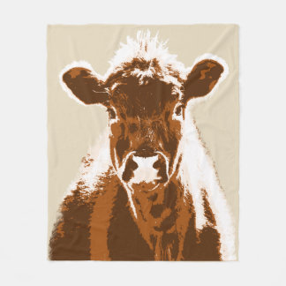 Brown Cow Farm Animal Fleece Blanket