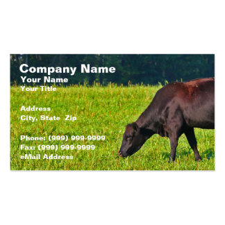 Brown Cow Feeding on Grass Business Card Templates