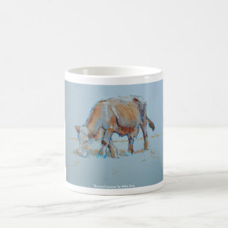 Brown Cow Grazing Painting Bronzed Bovine Mug