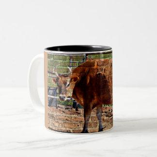 Brown Cow in Bricks Coffee Mug