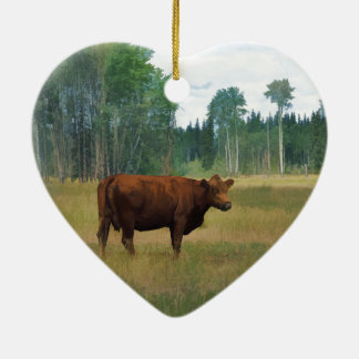 Brown Cow on a Horse and Cattle Ranch Ceramic Heart Decoration