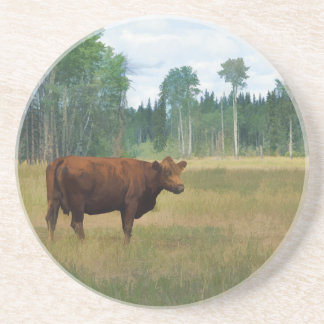 Brown Cow on a Horse and Cattle Ranch Drink Coaster