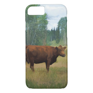 Brown Cow on a Horse and Cattle Ranch iPhone 7 Case