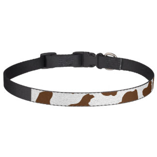 Brown Cow Spots Faux Fabric Texture Pet Collar