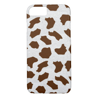 Brown Cow Spots on  Fabric-Look  Texture iPhone 7 Case