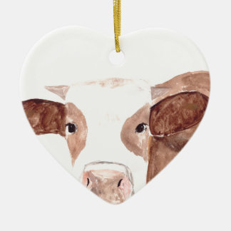Brown cow watercolour painting christmas ornament