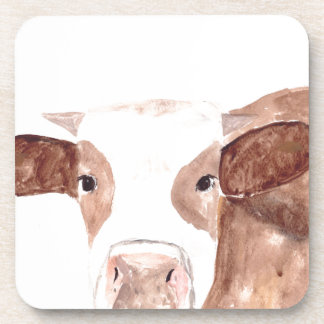 Brown cow watercolour painting coaster