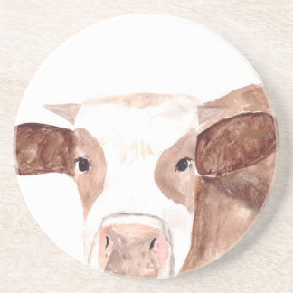 Brown cow watercolour painting coasters
