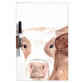 Brown cow watercolour painting dry erase board