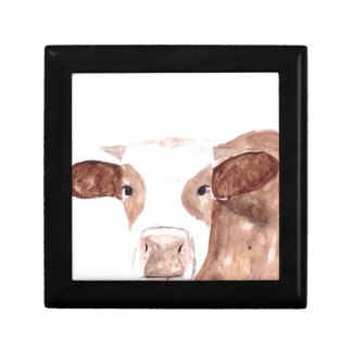Brown cow watercolour painting gift box