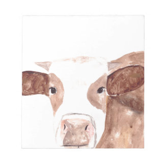 Brown cow watercolour painting notepad